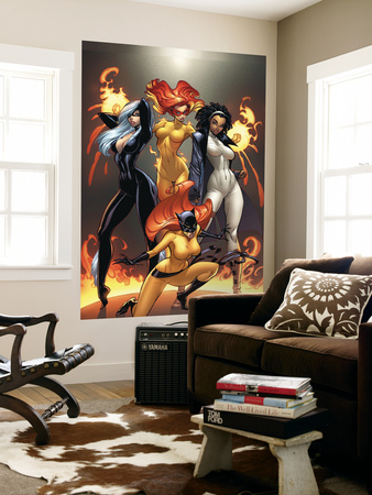 Marvel Divas No.1 Cover: Hellcat, Black Cat, Captain Marvel and Firestar Laminated Oversized Art