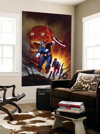 Captain America #8 Cover: Captain America, Bucky and Red Skull Swimming Laminated Oversized Art