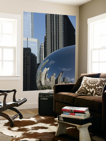 Skyline Reflected in Cloudgate, also known as 'The Bean' Laminated Oversized Art
