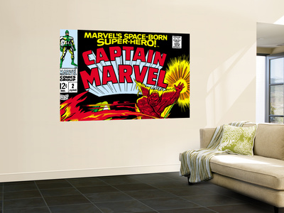 Captain Marvel No.2 Cover: Super Skrull and Captain Marvel Swinging Laminated Oversized Art