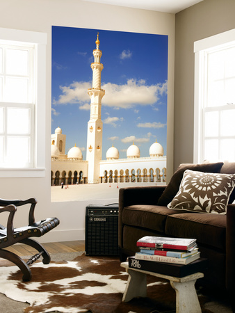 Exterior of Sheikh Zayed Bin Sultan Al Nahyan Mosque (Also known as Sheikh Zayed Grand Mosque) Lamineret kunst i storformat