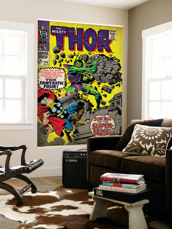 Marvel Comics Retro: The Mighty Thor Comic Book Cover No.142, Scourge of the Super Skrull! (aged) Art
