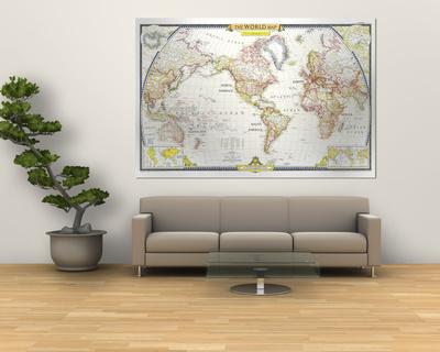1951 World Map Giant Art Print