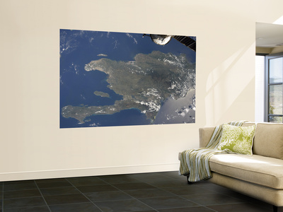 A View of the Caribbean Island of Hispaniola from the International Space Station Laminated Oversized Art