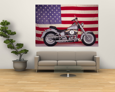 Harley Davidson Motorcycle and US Flag Laminated Oversized Art