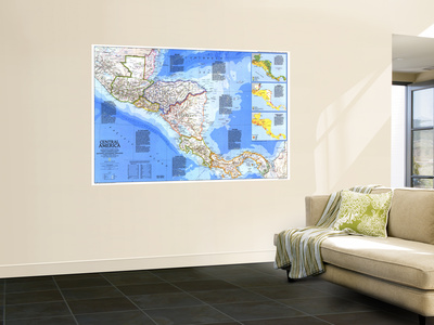 1986 Central America Map Art by  National Geographic Maps