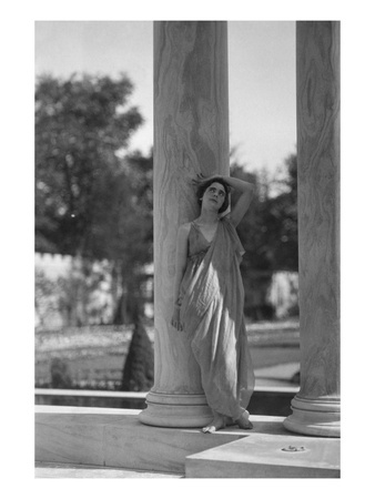 Vanity Fair - August 1920 - Teresa Duncan Leans on Column Photographic Print by Arnold Genthe