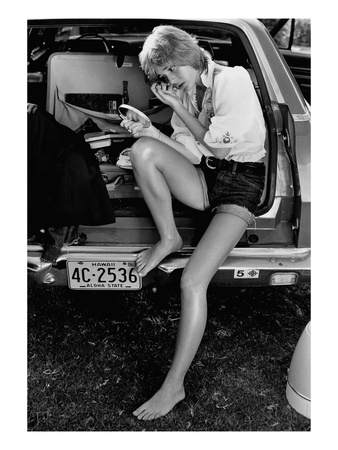 Glamour - May 1971 - Sitting in Back of Station Wagon Photographic Print by Puhlmann Rico