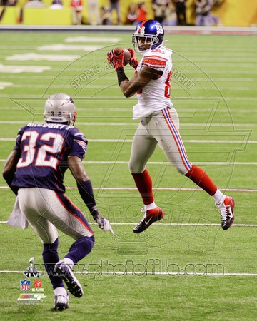 Hakeem Nicks Super Bowl XLVI Action Photo