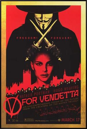 V for Vendetta Framed Canvas Print