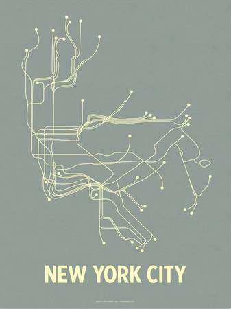 New York City (Steel Blue & Yellow) Serigraph by  LinePosters