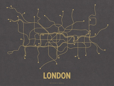 London (Dark Gray & Mustard) Serigraph