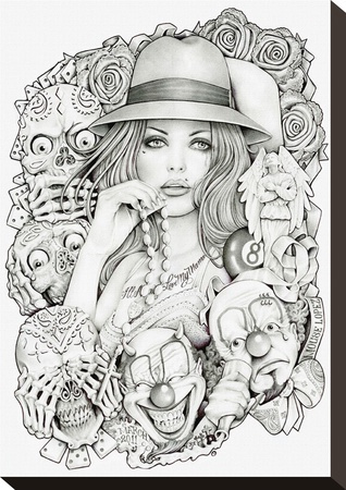 Old School Girl Stretched Canvas Print by Mouse Lopez