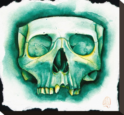 Green Skull Stretched Canvas Print by Christina Ramos