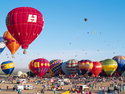Hot Air Balloons Take Flight, Albuquerque, New Mexico, Usa Fotografie-Druck