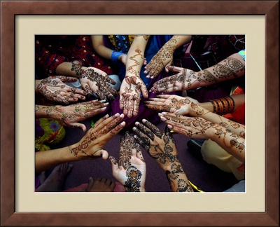 Pakistani Girls Show Their Hands Painted with Henna Ahead of the Muslim Festival of Eid-Al-Fitr Framed Photographic Print by Khalid Tanveer