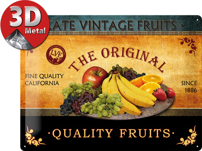Quality Fruits Cartel de chapa