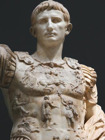 Augustus (61 bc-14 ad). first roman emperor, marble statue of augustus