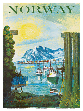 Norway: Fishing Village, c.1940s Posters by Lars Thorsen