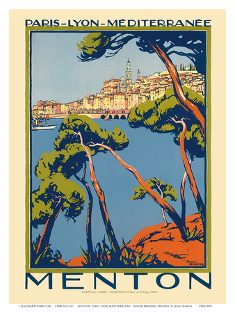 Menton, Paris - Lyon - Méditerrenée: France Railway Company, c.1920s Art Print
