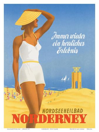 Nordseeneilbad Norderney Resort: Always a Wonderful Experience, c.1949 Prints by Willy Hanke