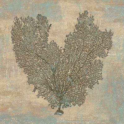 Aqua Fan Coral Print by Caroline Kelly