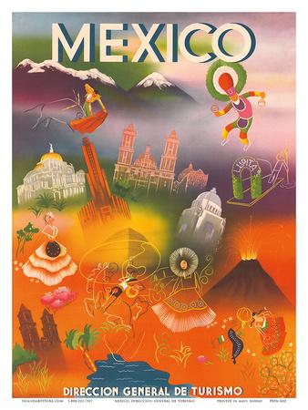 Direccion General de Turismo: Mexico, c.1950 Prints
