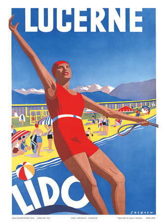 Lido, Lake Lucerne, Switzerland, c.1933 Art Print