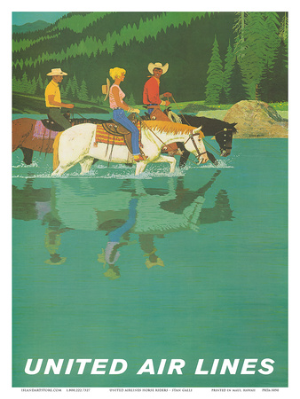 United Air Lines: Horse Back Riders, c.1960s Poster by Stan Galli