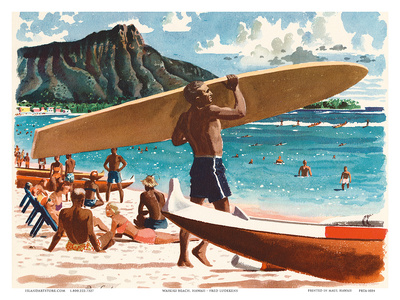 Waikiki Beach, Honolulu, Hawaii, c.1950s Posters by Fred Ludekens