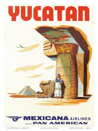 Mexicana Airlines via Pan American: Yucatan, c.1960s Prints