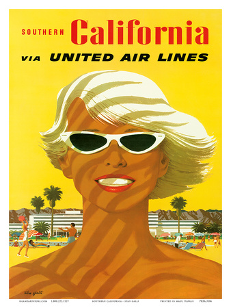 Fly United Air Lines: Southern California, c.1955 Poster by Stan Galli