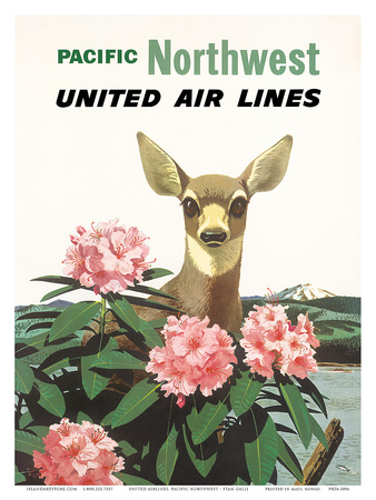United Air Lines: Pacific Northwest, c.1960s Art Print