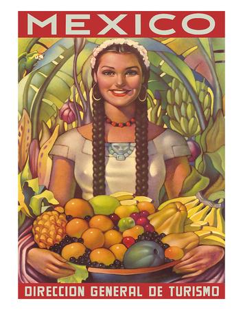Direccion General de Turismo: Mexico - Plenty of Fruit Giclee Print by Jorge González Camarena