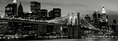 Le pont de Brooklyn de nuit, New York Reproduction d'art