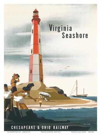 Chesapeake & Ohio Railroad: Virginia Seashore, c.1950s Posters by Bern Hill
