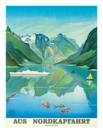 HAPAG Cruise Line: Nordkapfahrt - North Cape and Norwegian Fjords, c.1957 Giclee Print