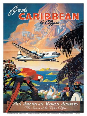Pan American: Fly to the Caribbean by Clipper, c.1940s Kunstdrucke von M. Von Arenburg