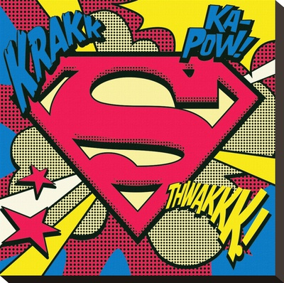 Superman-Pop Art Shield Stretched Canvas Print