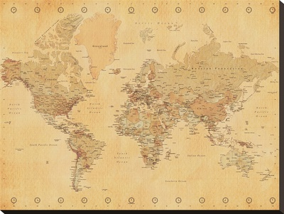 World Map-Vintage Style Reproduction transfre sur toile
