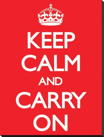 Keep Calm and Carry On-Red Stretched Canvas Print