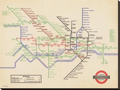 London Underground-Vintage 1936 Map Reprodukce na plátně