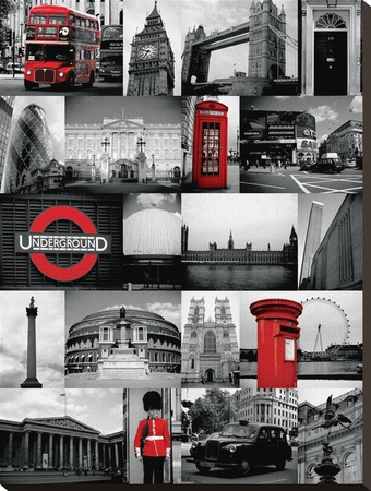 London Red-Collage Stretched Canvas Print