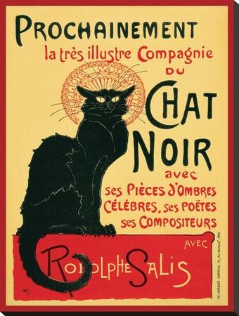 Chat Noir Reproducción de lámina sobre lienzo por Théophile Alexandre Steinlen