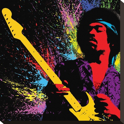 Jimi Hendrix-Paint Stretched Canvas Print