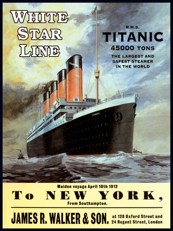 White Star Line Titanic - to New York Tin Sign