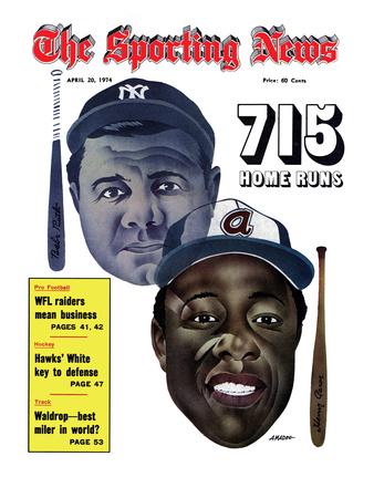 New York Yankees' Babe Ruth and Atlanta Braves' Hank Aaron - April 20, 1974 Photo