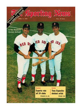 Red Sox OFs Tony Conigliaro, Carl Yastrzemski and Reggie Smith - April 11, 1970 Foto