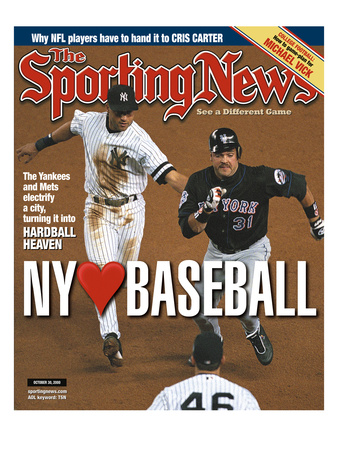 New York Yankees SS Derek Jeter and New York Mets C Mike Piazza - October 30, 2000 Photo
