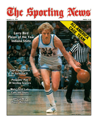 Indiana State Sycamores Forward Larry Bird - March 17, 1979 Reproducción en lienzo de la lámina